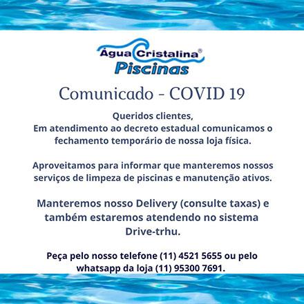 Água Cristalina Piscinas Jundiaí - Comunicado Covid-19